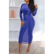 Lovely Casual Knot Design Blue Ankle Length Dress
