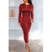 Lovely Casual Knot Design Wine Red Ankle Length Dr