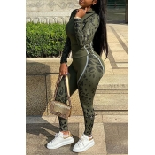 Lovely Sportswear Patchwork Army Green Two-piece Pants Set