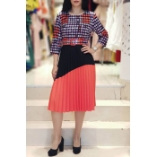 Lovely Casual Patchwork Watermelon Red Knee Length