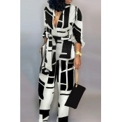 Lovely Casual Color-lump Black And White One-piece