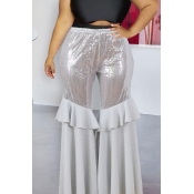 Lovely Casual Flounce Design Silver Plus Size Pant