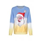 Lovely Christmas Day Printed Blue Sweatshirt Hoodi