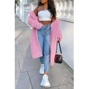 Lovely Trendy Winter Turn-down Collar Pink Teddy Coat