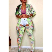 Lovely Sexy Printed Green Two-piece Pants Set