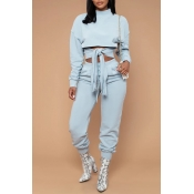 Lovely Casual Turtleneck Lace-up Baby Blue Two-pie