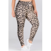 Lovely Casual Leopard Printed Plus Size Pants