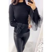 Lovely Trendy Turtleneck Black Sweater