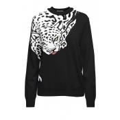 Lovely Leopard Dark Blue Sweater