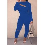 Lovely Trendy Zipper Design Blue Two-piece Pants Set