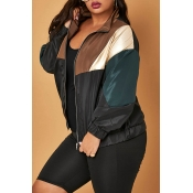 Lovely Leisure Patchwork Black Plus Size Jacket