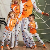 Lovely Halloween Printed Orange Father Two-piece P