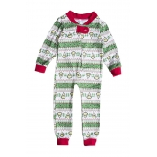 Lovely Family Printed Green Boys One-piece Jumpsui