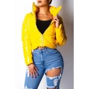 Lovely Casual Zipper Design Yellow Parkas