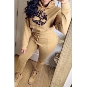 Lovely Casual Hooded Collar Khaki Two-piece Pants