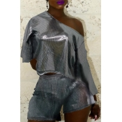 Lovely Chic Dew Shoulder Grey Two-piece Shorts Set
