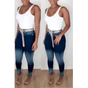 Lovely Casual Skinny Blue Jeans(Without Belt)