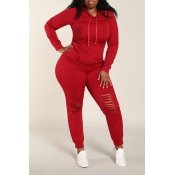 Lovely Casual Broken Holes Wine Red Plus Size Two-piece Pants Set