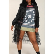 Lovely Casual Patchwork Black Plus Size Jacket