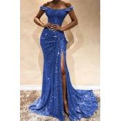 Lovely Party Side High Slit Blue Trailing Evening Dress