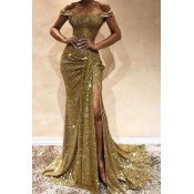 Lovely Party Side High Slit Gold Trailing Evening