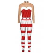 Lovely Cosplay Patchwork Striped Red One-piece Jum