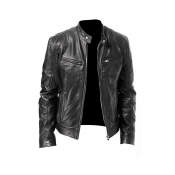 Lovely Casual Mandarin Collar Black Leather