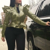 Lovely Casual Flounce Design Army Green Jacket
