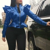 Lovely Casual Flounce Design Blue Jacket