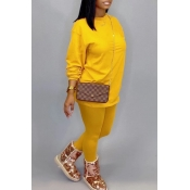 Lovely Leisure O Neck Basic Yellow Two-piece Pants