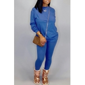 Lovely Leisure O Neck Basic Blue Two-piece Pants S