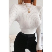 Lovely Chic Turtleneck Lace-up White Sweater