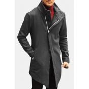 Lovely Casual Zipper Design Black Trench Coat