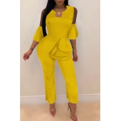 Lovely Trendy Flounce Design Yellow One-piece Jumpsuit