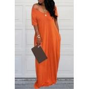 Lovely Casual Pockets Design Yellow Blending Floor Length Dress