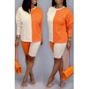 Lovely Trendy Color-lump Patchwork Orange Two-piece Shorts Set