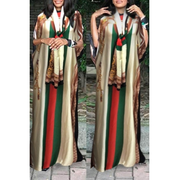 Lovely Casual Printed Beige Floor Length Plus Size Dress
