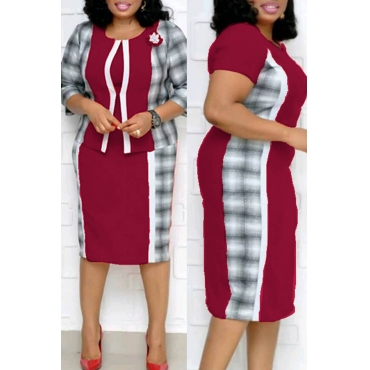 Lovely Casual Patchwork Purplish Red Plus Size Two-piece Skirt Set