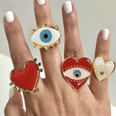 Lovely Vintage Eye White Alloy Ring