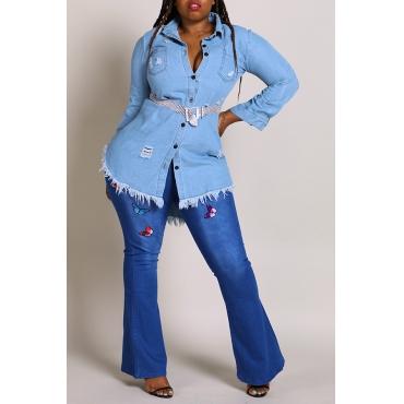 Lovely Casual Turndown Collar Tassel Design Blue Plus Size  Mini Dress