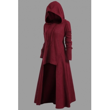 Lovely Casual Asymmetrical Wine Red Plus Size Hoodie