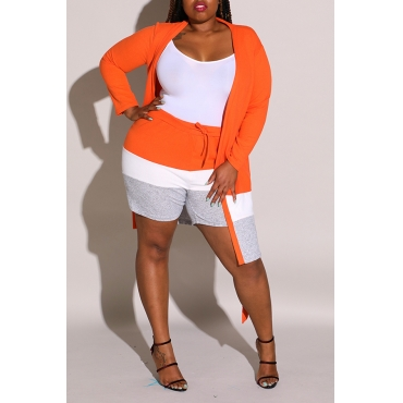 Lovely Casual Patchwork Jacinth Plus Size Two-piece Shorts Set