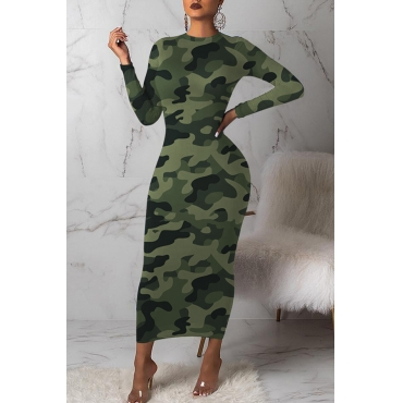 Lovely Casual Camouflage Printed Army Green Mid Calf Dress