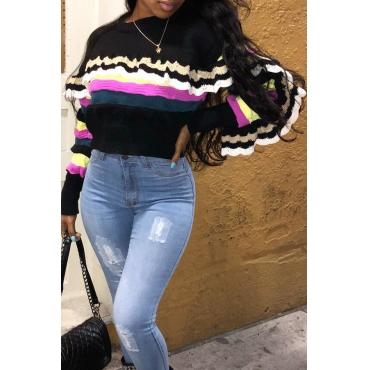 Lovely Trendy Flounce Design Black Sweater