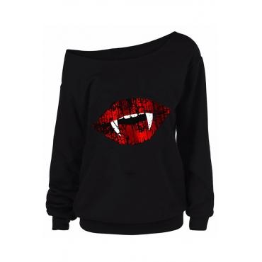 Lovely Halloween Casual Lip Printed Black Sweatshirt Hoodie