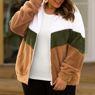 Lovely Casual Hooded Collar Patchwork Brown Plus Size Coat