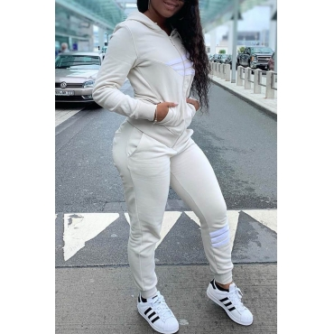 Lovely Casual Hooded Collar Printed White Two-piece Pants Set