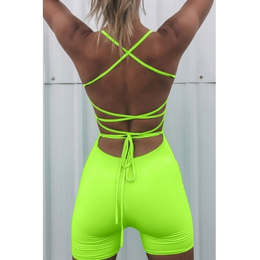 Lovely Sexy Backless Green One-piece Romper