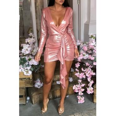 Lovely Chic Deep V Neck Asymmetrical Pink Mini Dress