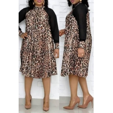 Lovely Trendy Patchwork Leopard Printed Knee Length Plus Size Dress